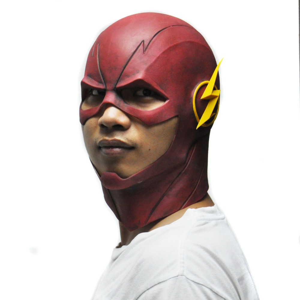 The Flash Mask DC Movie Cosplay Costume Prop Halloween Full Head Latex Party Masks(China (Mainland))