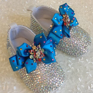 Rhinestone baby shoes Christening Birthday soft bottom Hand Made bowknot bling Bowknot diamond Baby Girl Shoes