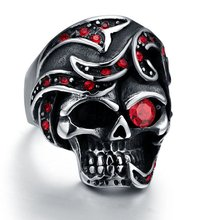 Biker Men's Jewelry Stainless Steel Ring Garnet Red Simulated Cz Eye Skull Silver Black Gothic Size 8-12