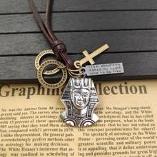 Retro Punk naszyjnik 100% skóry wołowej liny religia symbol egipski faraon brązowy krzyż pętli list Tag mężczyzna prezent urodzinowy AC099-100(China)