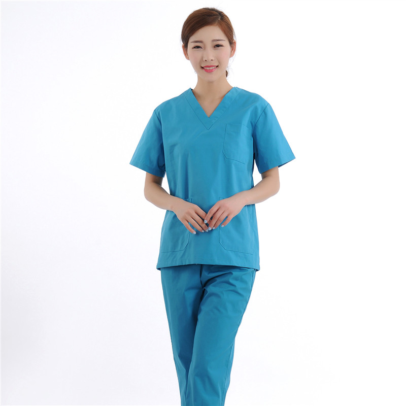 New Women Medical Scrub Sets Nurse Hospital Uniforms Dental Clinic Beauty Salon Short Sleeve Medical Workwear Slim Fit 2065(China (Mainland))