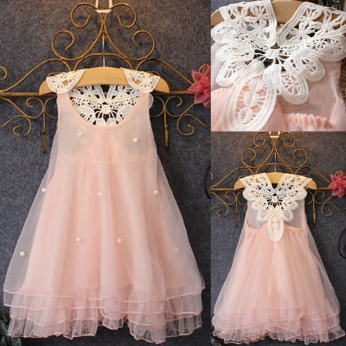 Chiffon Toddler Baby Girls Party Dress Pearl Lace Tulle Gown Fancy Dress 2-7Y(China (Mainland))