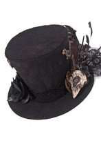 Mens Gothic Black Bird Feather Steampunk Top Hat Halloween Costume