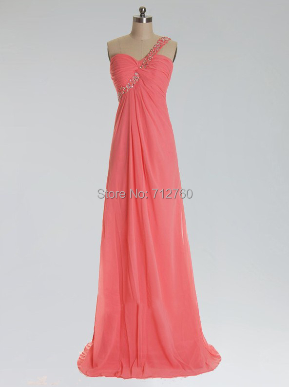 2015 one shoulder long sexy coral red chiffon prom dresses for Long wedding dresses under 100