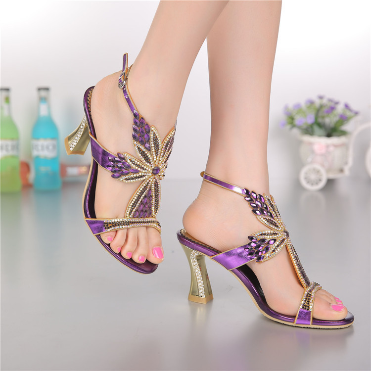 Women sandals,2015 new styles peacock high-heeled shoes thick thin wedges genuine leather rhinestone female sandals GS-L004VTC(China (Mainland))