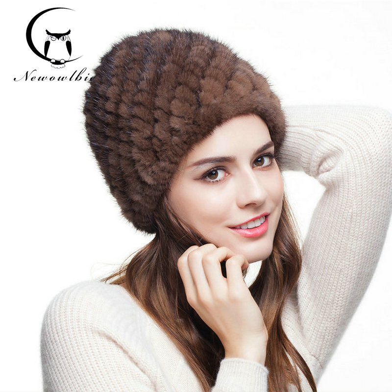Hot real mink fur hat for women winter knitted mink fur beanies cap with fox fur brand new thick female cap(China (Mainland))