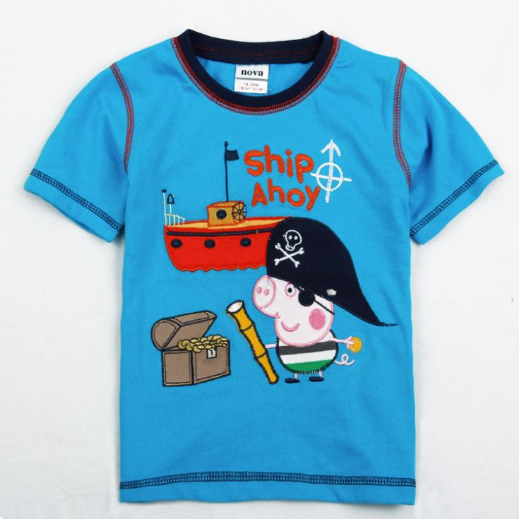 peppa pig clothing boys tunic tops children boys clothing new 2016 summer dress retail fashion kids wear boys t-shirt(China (Mainland))