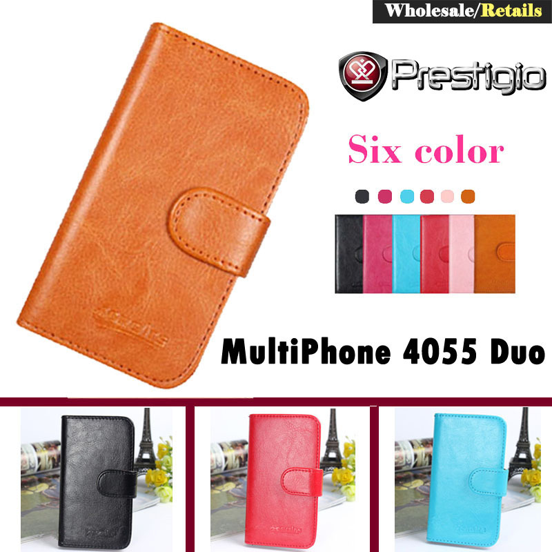 Stock! 6 Colors Flip Leather Phone Cover Case Prestigio MultiPhone 4055 Duo Card Holder Bags Stand Function - Onlyou Flagship Store store