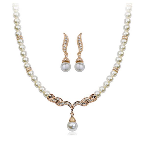 Imitation Pearl 18K Gold Plated Elegant Wedding Jewelry Set Made Austrian Crystals SB018 - szwxfx store (MOQ:15USD store)