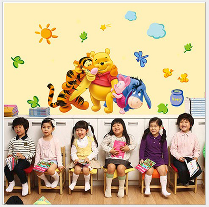 V-co winnie the pooh wall stickers for kids rooms home decoration children favourite DIY vinyl wall paper wall decals(China (Mainland))