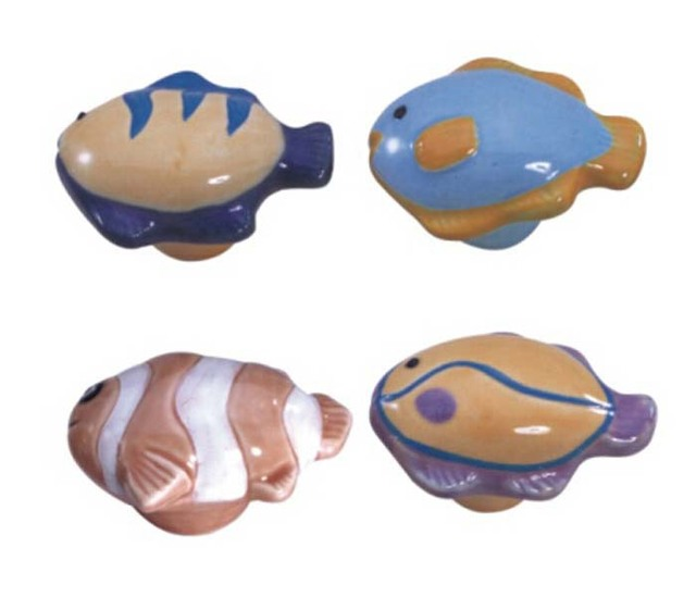 Kid room cartoon ceramic handles and knobs fish cabinet for Fish drawer pulls