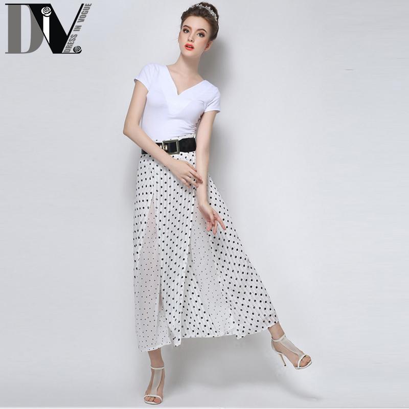 Summer Women Pants Wave Print Split Ends High Waist Chiffon Culotte Fashion Loose Full Length Black&White Zipper Fly Long Plant(China (Mainland))