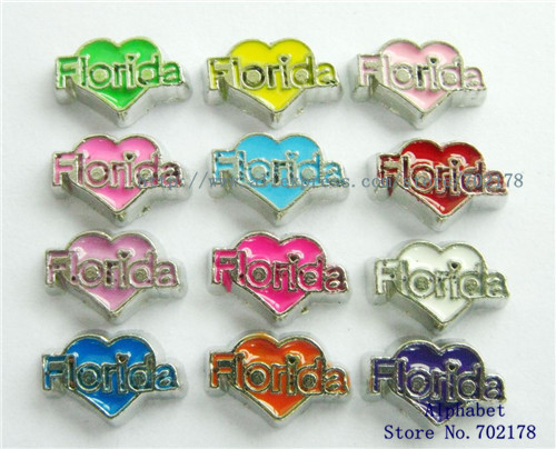 lowest price ! Free shipping 10pcs mix color zinc alloy floating locket charms Florida FC112 heart fit for living memory locket(China (Mainland))