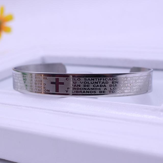 Титана стали пара крест браслет японские и корейские текст библии титана стали нью-cross ...