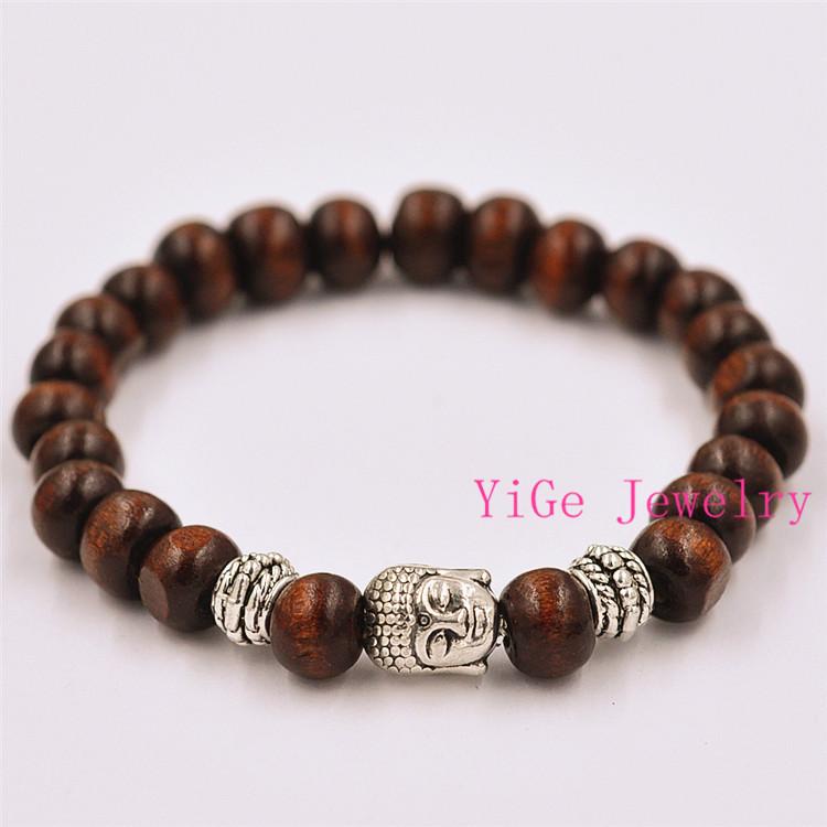 Free Shipping Promotion Red Wood Bracelet Prayer Mala Beads Natural Wood Buddha Head Beads Bracelets Jewelry(China (Mainland))