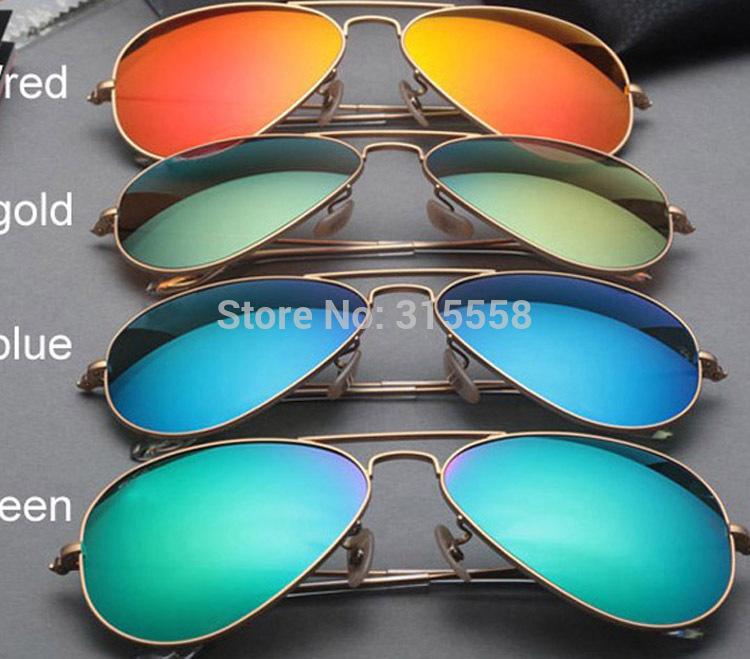 mirror G15 glass lens gafas de sol ray a aviator 3025 sunglasses men holiday women color 3026 uv400 sun glasses with logo box(China (Mainland))