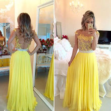Applique High Neck Unique Design Yellow Elegant Formal Evening Gowns Long Chiffon Evening Dress Prom Dresses Kleider 2015(China (Mainland))