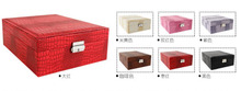 High grade double layer snake pattern leather fashion wedding multi function jewelry collection box(China (Mainland))