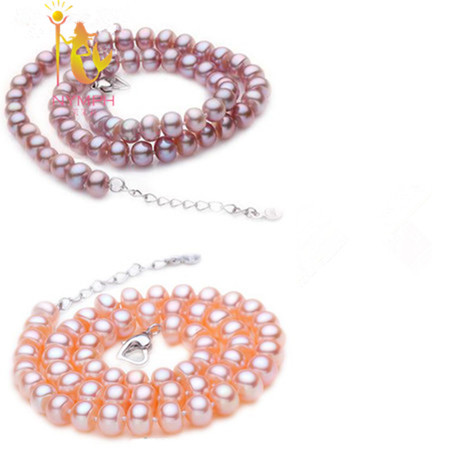 2014 new NYMPH  brand real white freshwater  pearl necklaces pink and purple two piece fashion  AAA party gift<br><br>Aliexpress