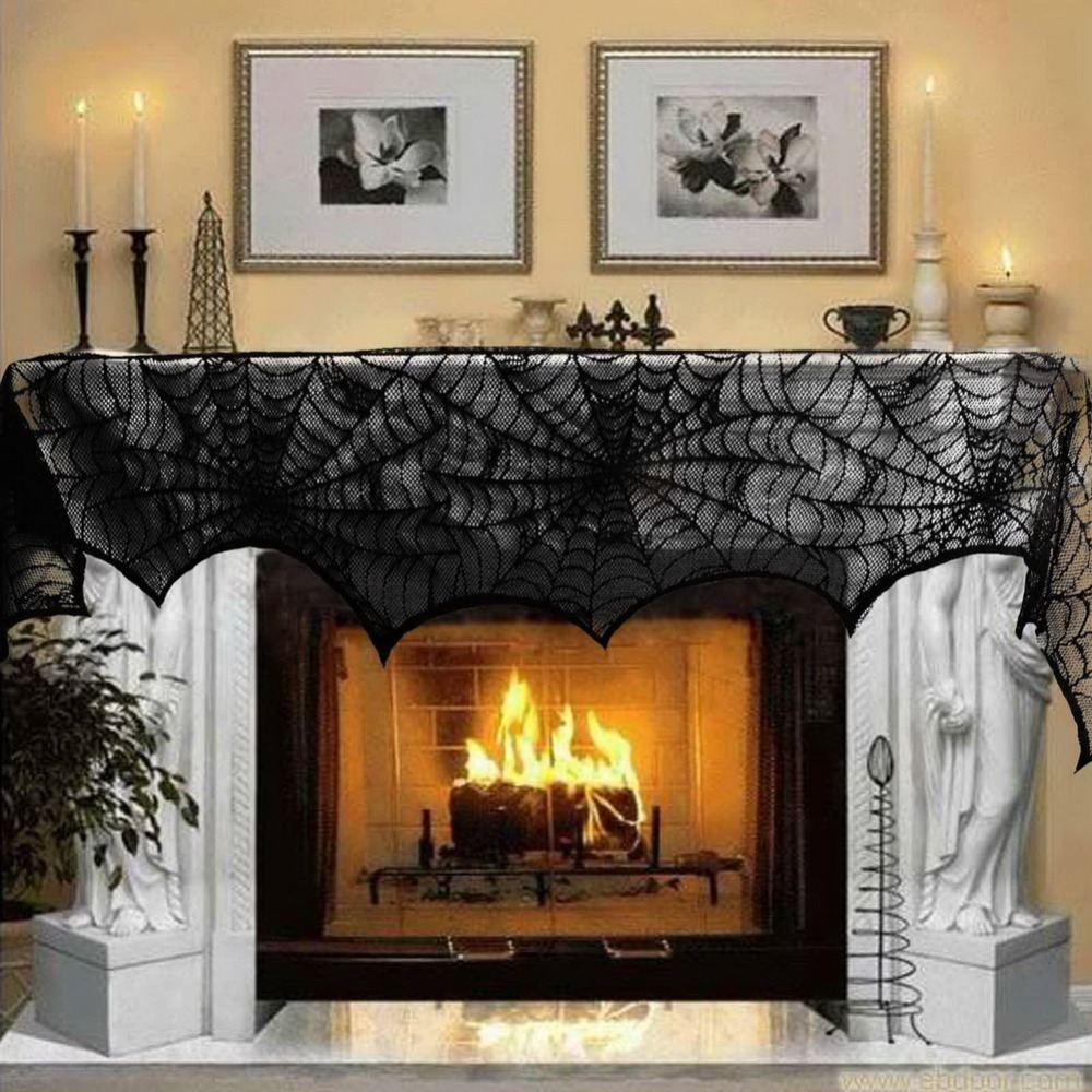 New hot halloween party decoration black lace spiderweb for Idee decoration porte halloween