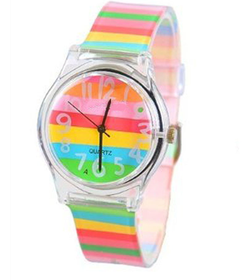 rainbow color stripe children watch boy girl cartoon kid transparent silicone band quartz