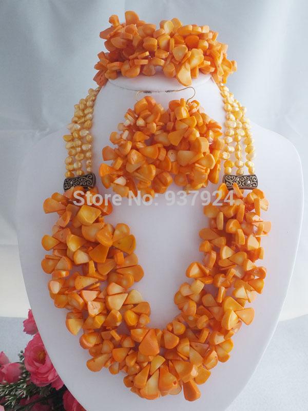 Luxury Nigerian African Wedding Bead Set orange Coral Beads Jewelry Necklace Bracelet Clip Earrings a-024 - Online Store 937924 store