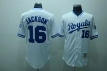 Retro 16 Bo Jackson Jersey Kansas Royals Jersey Throwback Baseball Jersey White Blue Embroidery(China (Mainland))