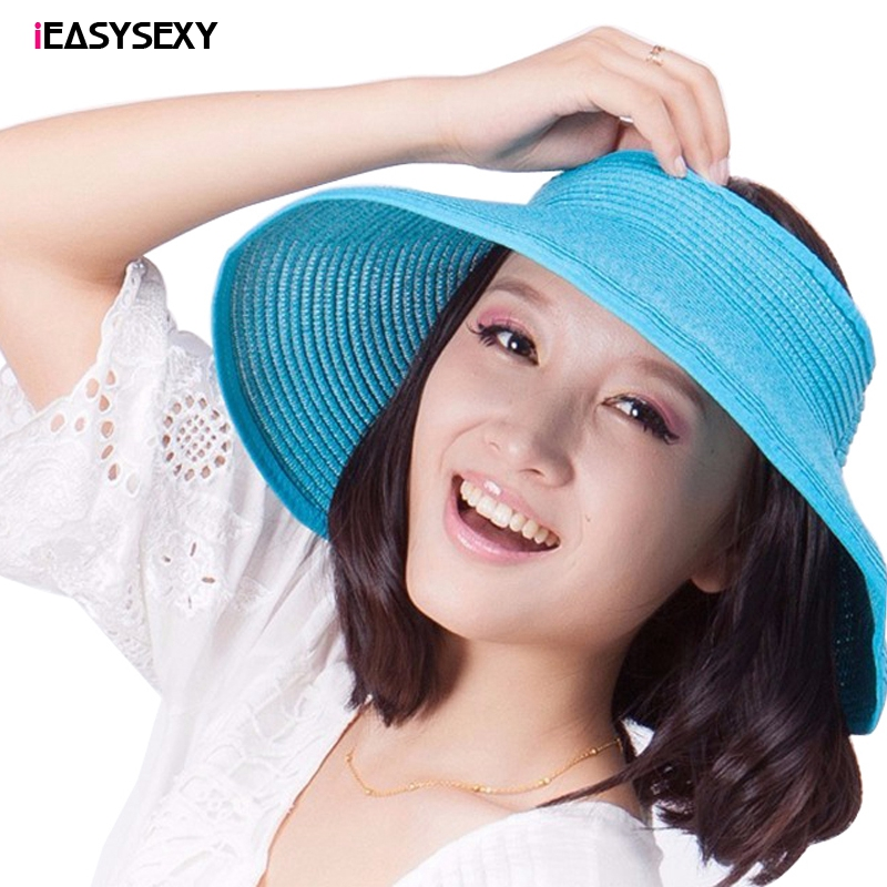 iEASYSEXY Fashion Women Summer Cool Folding UV Straw Hat Beach Sunscreen Cap Easy Fold Empty Top Rattan Plaited Hat 10 Colors