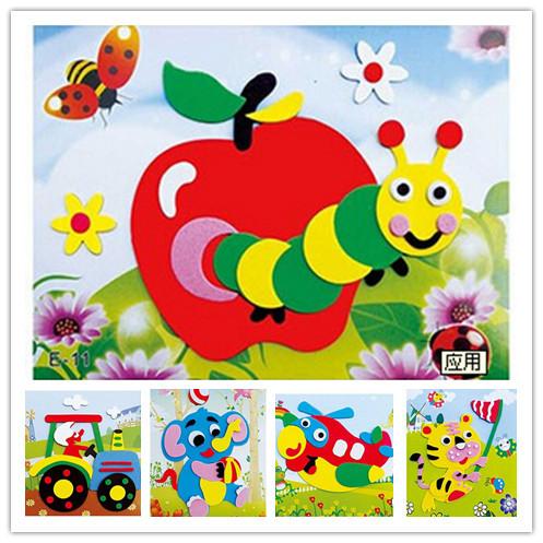 20designs/lot Series E DIY Cartoon Animal EVA Foam Sticker Puzzle(China (Mainland))