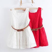 2016 Cute Fashion Baby Girls Lace Flower Sleeveless Dress Children Party Princess Vest Dress Clothes Kids Girls Outfit Vestidos