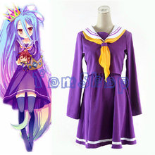 New No Game No Life Shiro Purple School Uniform Cosplay Dress Full Set Costume (Tops+Tie+Skirt) Size S M L Free Shipping(China (Mainland))