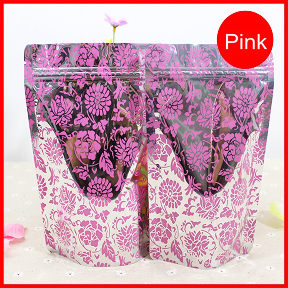 17cm*24cm,10pcs pink flower zip lock stand up Seal Stand Up aluminum foil bag,self sealed ziplock pouch bags for gift package(China (Mainland))