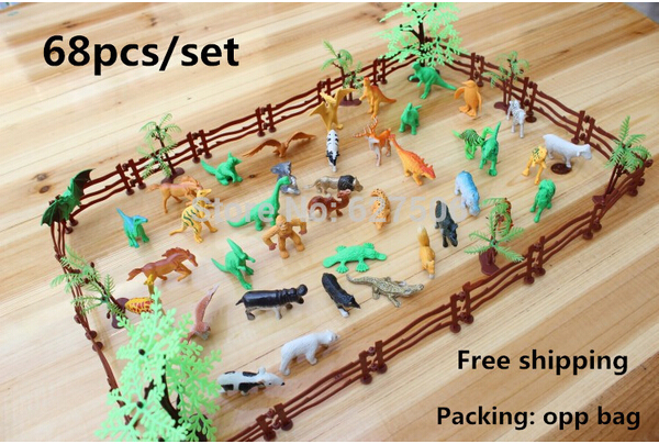 AliExpress.com Product - Simulation Zoo 68 packages containing solid fence coconut tiger dinosaur model toys for children of military