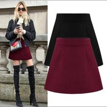 Buy 2017 new Korean version fashion woolen black green Red wine color mini skirt Leisure Wild Spring autumn winter A-line skirt for $19.49 in AliExpress store
