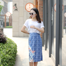 FREE SHIPPING 2016 Summer New Arrival Vintage Elegant High Waist Blue And White Porcelain Cotton Package Hip Middle Skirt Women