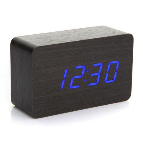 Promotion ! Modern Wooden Wood USB/AAA Digital Blue LED Alarm Clock Calendar Thermometer(China (Mainland))