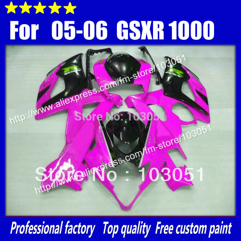 Injection for 2005 suzuki gsxr 1000 fairings K5 2006 GSXR 1000 fairing 05 06 glossy rose red with black HM17(China (Mainland))