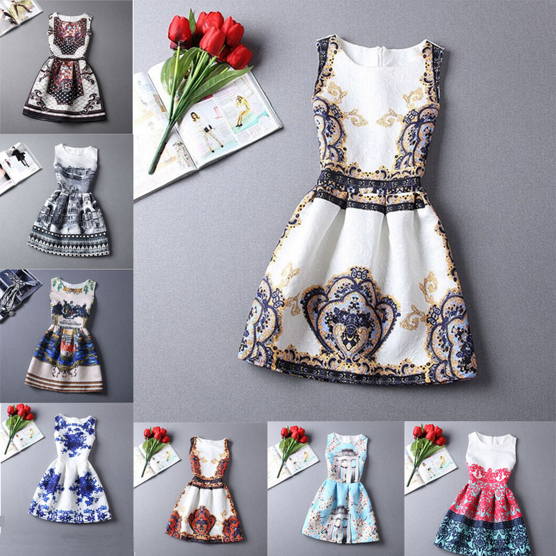 2015 Summer Style Dresses For Girls Kids Floral Printed Sleeveless Formal Children Dresses Teenagers Party Clothes Cheap C30(China (Mainland))