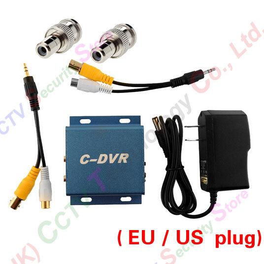 CCTV mini Camera Micro SD Card Video Record DVR EU US plug BNC Male RCA Female Adapter