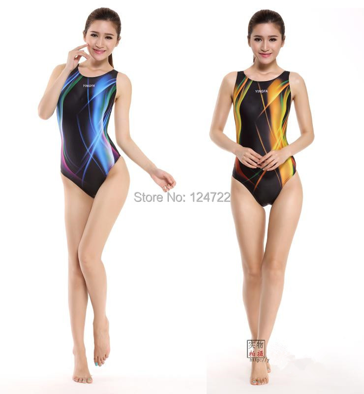 Yingfa digital printing Professional One-Piece Swimwear Women Swimsuit Sports Racing Competition Tight Bodybuilding Bathing Suit - Taurus Sport Goods Limited store