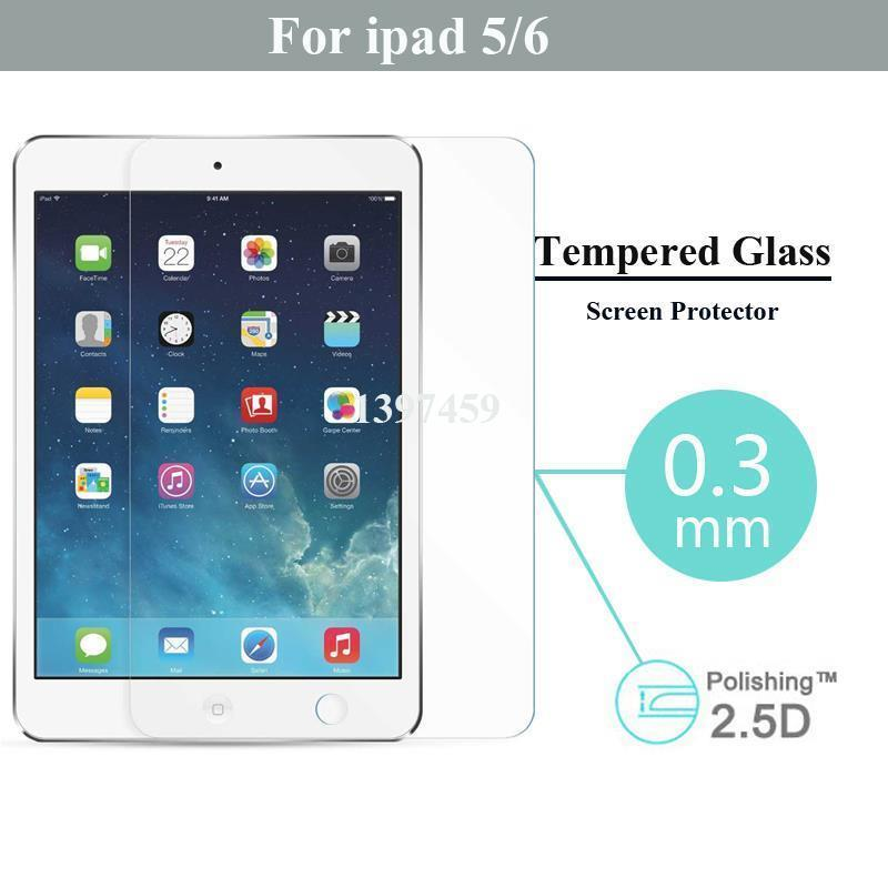 Hot On Sale Tempered Glass Screen Protector For Apple Ipad 5 6 Reinforced Protective Anti Shatter Guard Film With Retail Box(China (Mainland))