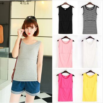 100% Cotton Maternity Nursing Tops Summer Tank Tees Clothes Pregnant Women 2015 New Breast Feeding Pregnancy Clothing(China (Mainland))
