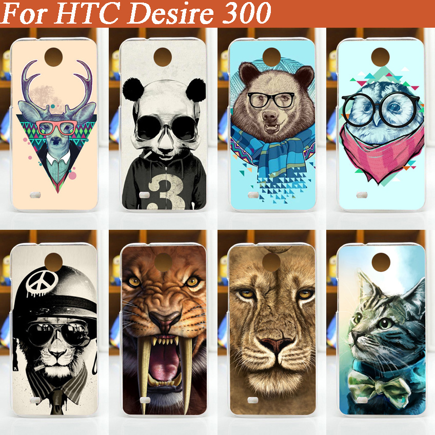 New Painting colored animals Hard Plastic Phone Case For HTC Desire 300/diy protector mobile phone case for For HTC Desire 300(China (Mainland))