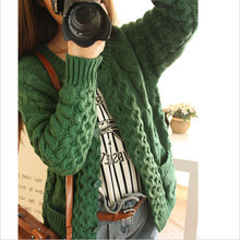 womens loose sweaters 2015 Fashion Loose coat Long sleeve sweater wool oversized knitted cardigan coat,free shipping,M1182(China (Mainland))