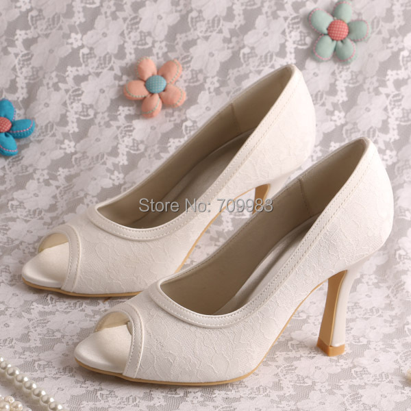 custom heel and color white ivory lace shoes wedding
