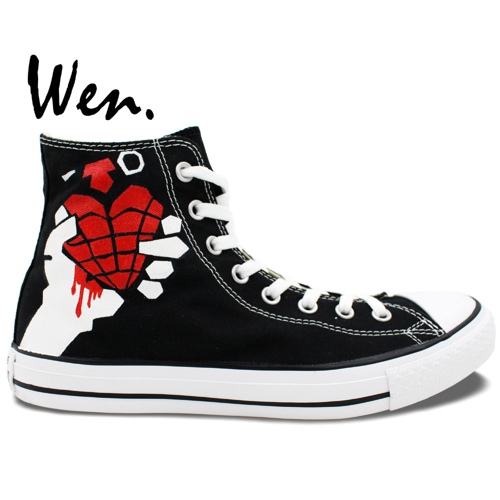 23970dc5a83b Wen Original Sneakers Design Custom Hand Painted Shoes Green Day American  Idiot Men Women s High Top Black Canvas Sneakers. 1 order