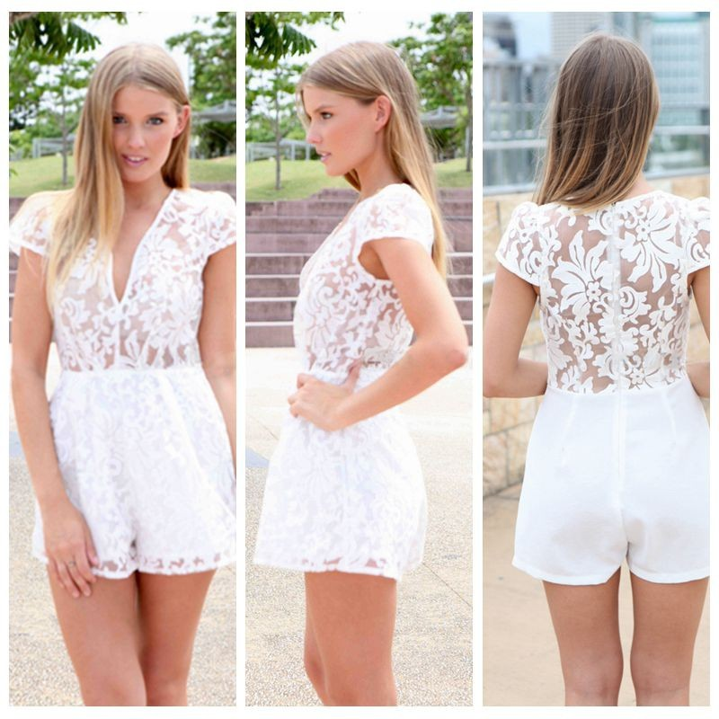 Hot Sale 2015 Unique Womens Lace Jumpsuit  Rompers White Lace Ladies Rompers Jumpsuit S M L  YJ7023