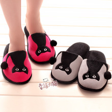 2013 autumn and winter cartoon small cat home slippers lovers thermal cotton-padded plush slippers floor drag(China (Mainland))