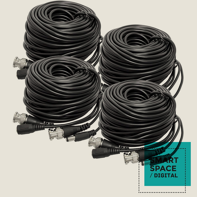 4-Pack of 60ft Video & Power Siamese Cables for Security Cameras BNC RG59, Black(China (Mainland))
