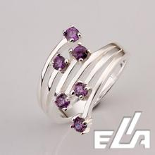 925 Silver Ring With SWA Element Crystals Pave Purple Cubic Zircon Stone Nickel Free mix colors Jewelry
